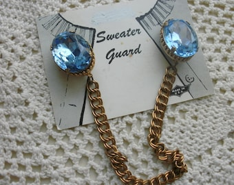 Sweater Clip  Ocean Blue Glass Stones In A filigree Prong Setting