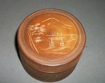 Vintage Carved Wood Coasters with Box Asian Themed Teak