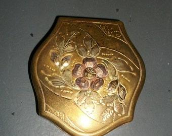 Vintage Gold Flowered Powder Compact with Mirror