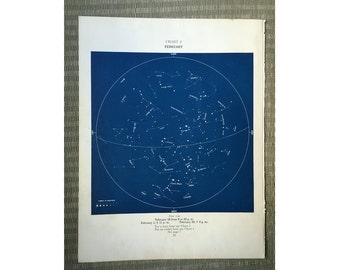 1943 FERBUARY STARS LITHOGRAPH constellation monthly star map original vintage celestial astronomy print