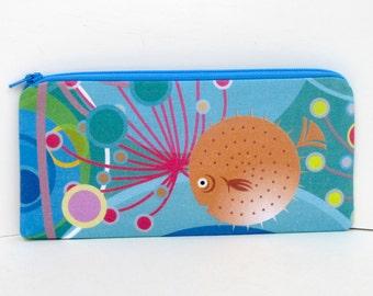 Zippered Pencil Pouch, Puffer Fish Ocean, Blue Long Zipper Bag, Money Holder