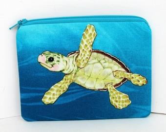 Sea Turtle, Small Zipper Pouch, Turquoise Coin Purse