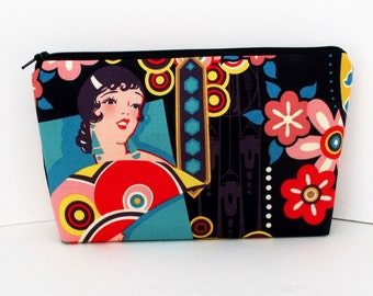 Zippered Make Up Bag, Ranchera Senoritas, Black Art Deco, Cosmetic Bag Pouch