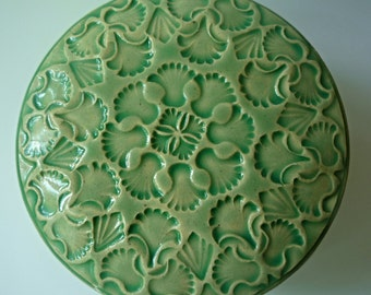 Mint Green Lidded Jar  Light Green Ginko Leaves or Jewelry Box Ornate Hand  Carved Design