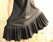 Last SALE 40% Black oversize dress , pleats dress, light wool and silk blended stripes dress - extravagant black dress