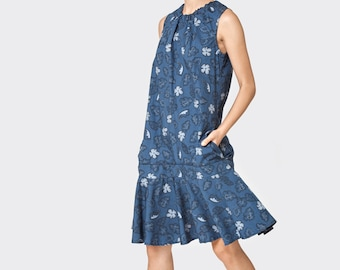 Dark blue floral Drop dress - sleeveless dress- frill mini dress- loose tunic- cotton dress- loose top - sexy dress- oversize dress
