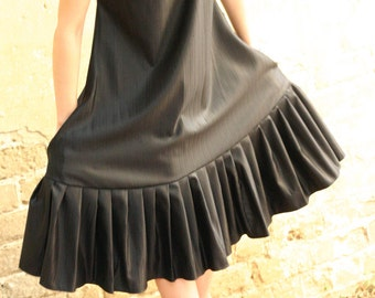 Last SALE 40% Black oversize dress , pleats dress, light wool and silk blended stripes dress - extravagant black dress