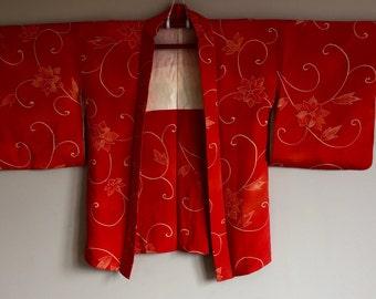 1950s HAORI KIMONO Jacket BOHO Japanese Floral Pattern