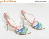 ON SALE 25% OFF Vtg 80s Rainbow Beach Vibrant Colorful Pink Chic White Green Blue Sandal High Heel Italy Pumps 7