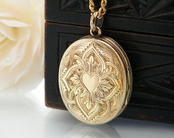 Four Photograph Antique Locket | Victorian Gold Locket Necklace | Engraved Gold Oval | Family Photo Locket - 24 Inch Vintage Gold Fill Chain