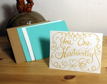 Knitworthy 4 Pack Set Note Card Gift Card Greeting Card