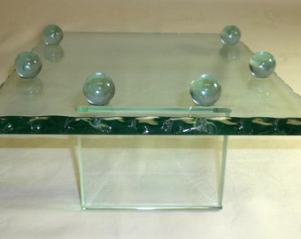 Store glass Jewelry Display Tray ,Hat or Craft , Thick Green Glass  ,Footed with Scalloped Edges 1980s Vintage