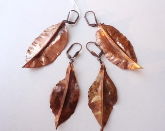 Copper earrings, copper leaves fall earrings, Modern nature jewellery  autumn earrings