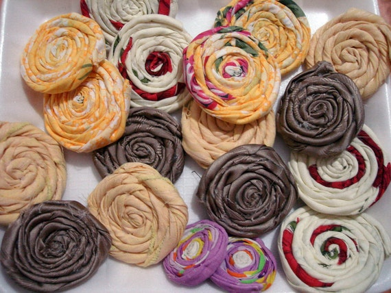 Rolled flowers handmade wholesale fabric flowers Large Fabric Rosettes