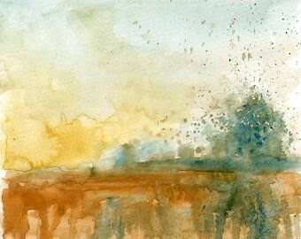 Landscape-Original watercolor painting 8x10inch-Landscape-Nature art-home decor