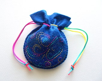 Gift Bag Dark Blue Felt Jewelry Pouch or Dice Bag with Hand Embroidery Handsewn