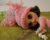 pink Crochet Blythe doll Hat ponytails, waldorf doll Hat soft hand dyed merino, Infant Hat Baby, Crochet Hat, Baby pink  Cap