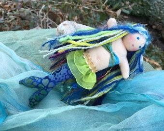 Waldorf Mermaid Doll 7 inch Waldorf-inspired Mermaid Baby Doll Blue Batik Tail Merchild