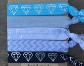 5 Pack Geometric Diamond Inspired Knot Hair Ties Fold Over Elastic Stretch Bracelet by Whimsical Elements