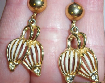 vintage gold tone and white dangle and drop screw on or screw back earrings with rhinestones