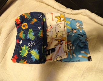 "Male Dog Diaper set of 3, sizes from 10"" up to 16"" elastic waist  handmade cotton flannel"