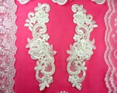 """Venise Lace Mirror Pair Ivory Pearl Beaded Appliques 9"""" (BL90X-iv)"""
