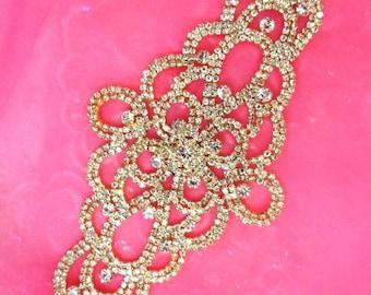 """N44 Crystal Rhinestone Applique Gold Embellishment 8"""" (N44-glcr)"""