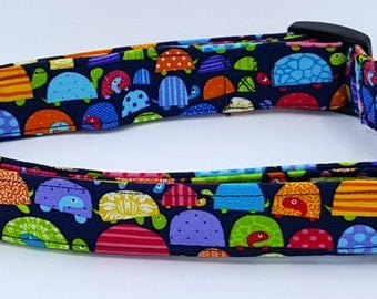 Slow and Steady Wins The Race Crazy Patterned Turtles on Dark Blue Dog Collar
