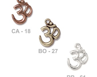 TierraCast 22mm OM Charm - plated pewter - choose from antique copper, brass oxide or bright rhodium - chakra, yoga, spiritual jewelry charm