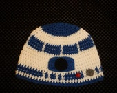 Star Wars - R2D2 - Look alike - 3 To 5 Year Child's Beanie Cap - Hand Crocheted