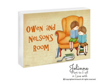Boys Room Door Sign, Personalized Name Sign,Baby Boy Name Sign,Boys Reading Books,School Library Sign,Teacher's Room Door Plaque,Baby boy