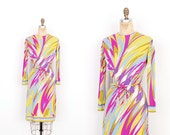 Vintage 1960s Dress / 60s Emilio Pucci Printed Silk Jersey Dress / Purple and Green ( small S )
