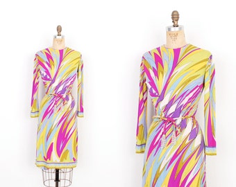 Vintage 1960s Dress / 60s Emilio Pucci Printed Silk Jersey Dress / Purple and Green (small S)