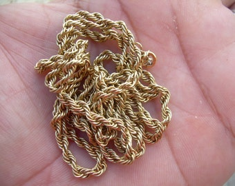 Vintage antique 14K Yellow Gold twisted rope necklace Necklace, marked 14 K on clasp, 28 1/4  inches long, 5 grams
