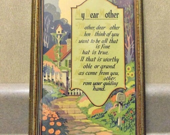Framed My Dear Mother Poem 1920s Print M & B NY Made in USA Mother's Day