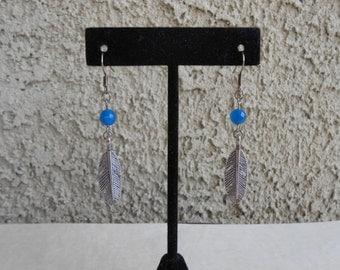 Blue Agate Feather Earrings