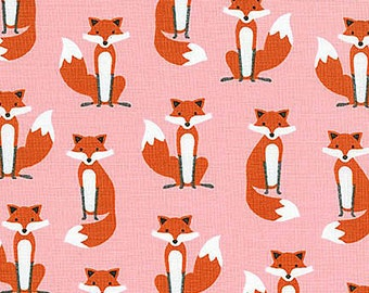 Fabulous Foxes Fabric from Robert Kaufman Cute Small Red Fox on Pink