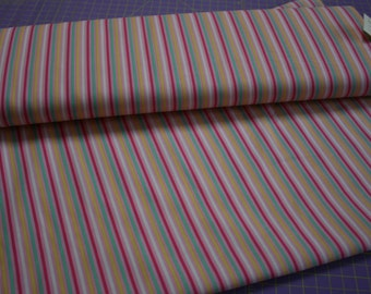 Pink Yellow Mint Green White Striped Lecien Fabric Stripes .25 quarter inch wide