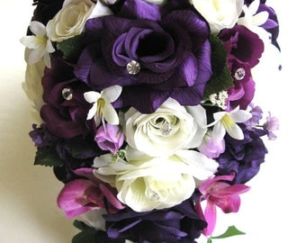 """Wedding bouquets Silk flowers Bridal bouquet PURPLE PLUM EGGPLANT Sangria Ivory 17 piece Package Bride flower centerpiece """"RosesandDreams"""""""