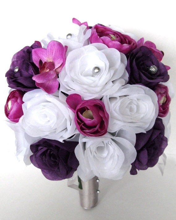 Wedding Bouquet Flowers Bridal Silk 17 Piece Package PURPLE