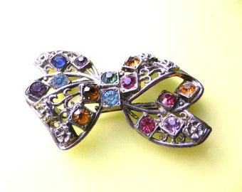 1940s Old Czech silver dark Bow Brooch - Dazzling Colorful  Rhinestones - ancient allure for the grandmother's brooch - Art.186/4  -