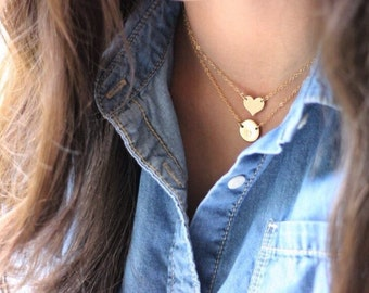 Heart Gold Necklace - Celebrity Style - 14K Goldfilled