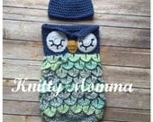 Owl Cocoon Pattern Owl and Hat Set Sleeping Sac Owl Photo Prop and Hat Crochet Pattern Newborn - 6months and 6-12 months Instant Download