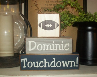 New Boys Primitive Personalized Football Sports Themed Wood Sign Blocks Nursery Room Decor NFL Distressed Sign