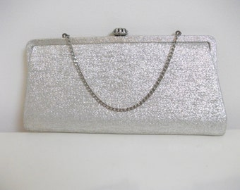 Silver Metallic Foil 60's Evening Bag