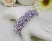Woven Bracelet Embellished Pearl and Swarovski Crystal ABx2 Lavender