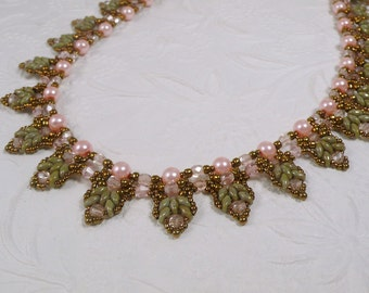 Woven Super Duo Bead Necklace Pastel Pink Pearl and Green with Antiqued Bronze