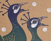 Four Calling Birds - Pack of 2 hand-made linocut Christmas Cards - 12 Days of Christmas - Peacocks - linocut greetings card - turquoise gold