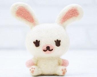 Japanese Needle Wool Felt Mascot DIY Kit, Kawaii White Bunny Rabbit, NHK MOFY, Hamanaka Wool Felt Kit, Japanese Cute Felting Supply, F174