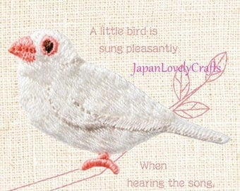 White Java sparrow, Bird Patch, Embroidered Iron On Patch, Japanese Colorful Iron on Applique, Made Japan, Kawaii Embroidery Applique,W102
